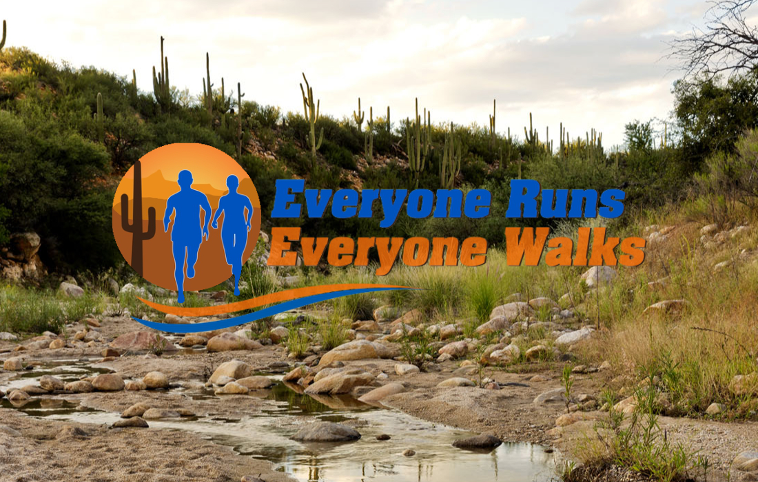 Picture of the Catalina State Park and Everyone Runs Everyone Walks logo