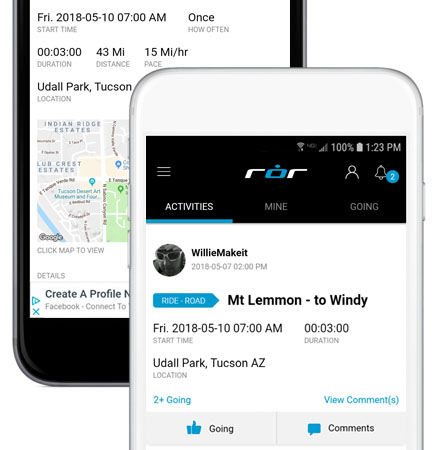 Picture of ROR app on a mobile device